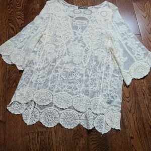 Qed London lace high low cream blouse